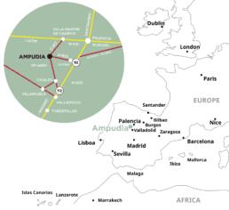 Localización de Ampudia en Mapa de España